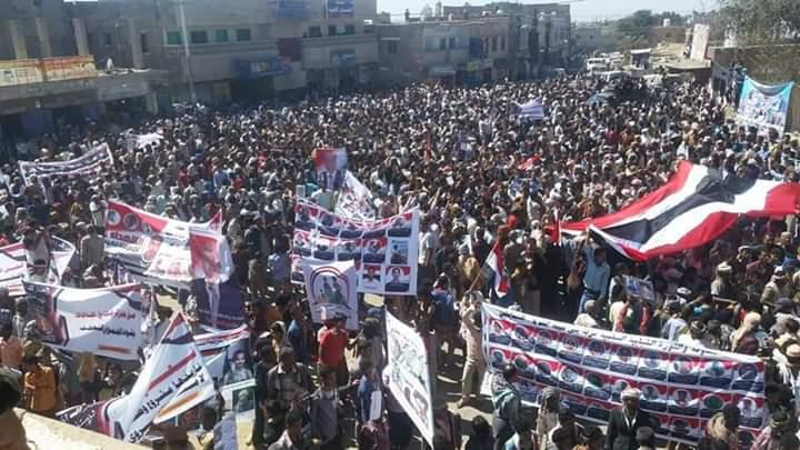 تعز : تظاهرات جماهيرية حاشدة في مديريات الشمايتين والمسراخ