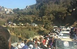 تعز: تشييع جثامين شهداء التفجير الارهابي الذي استهدف أفراد من الجيش الوطني أمس الأول