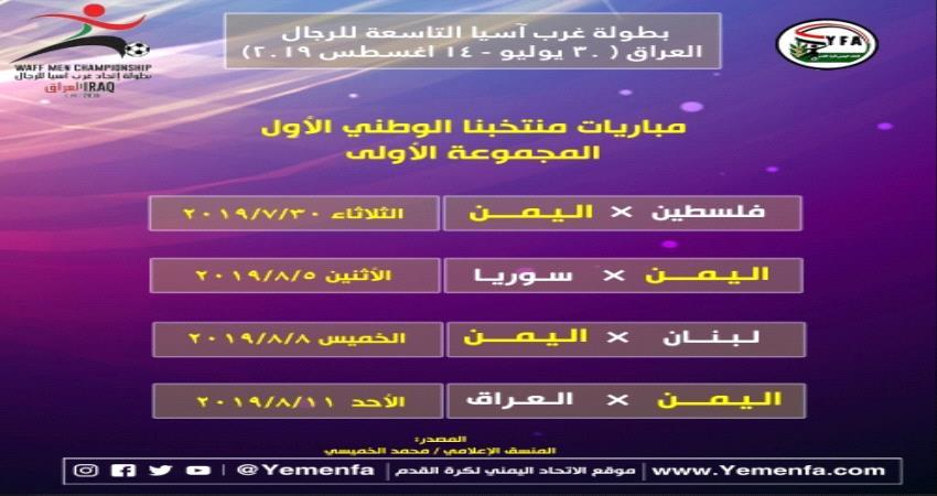 قرعة بطولة غرب آسيا لكرة القدم تضع اليمن في مجموعة فلسطين و سوريا والعراق