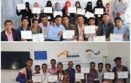 منظمة أدوار تختتم ورشتين عمل تدريبية في إدارة النزاعات وبناء السلام لعدد 32 طالب وطالبة بمديرتي المعافر والمواسط