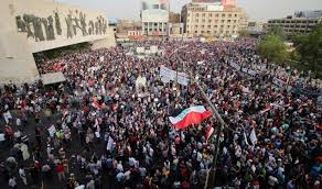 المتظاهرين في وسط بغداد للاحتجاج على الفساد