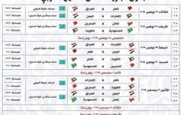 المواطن.. ينشر لكم جدول مباريات خليجي 24 الذي سينطلق بالدوحة الثلاثاء 26 نوفمبر