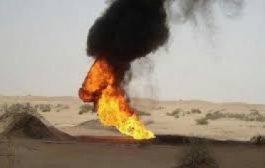 مسلحون مجهولون يفجرون أنبوب لنقل النفط الخام بشبوة
