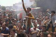 مظاهرات وعصيان مدني شامل في مدينة تعز